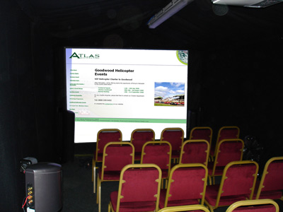 Briefing Room at Goodwood Festival Of Speed with Atlas Helicopters